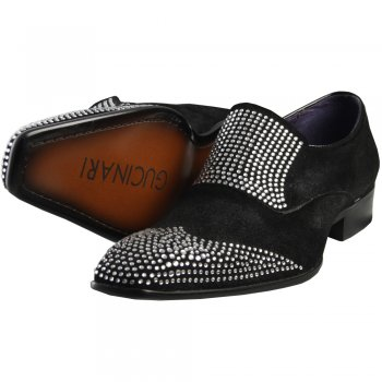 Men's Footwear W093-1 Suede Slip On Shoe in Black