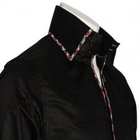 SCS01 Black Contrast Check Trim Shirt