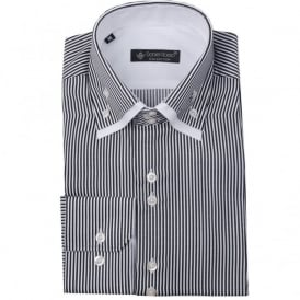 Daniel Rosso DR-480 ST Double Collar Striped Shirt in White