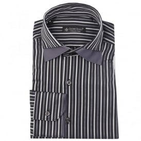 Daniel Rosso DR402/001 Grey Double Collar Stripe Shirt