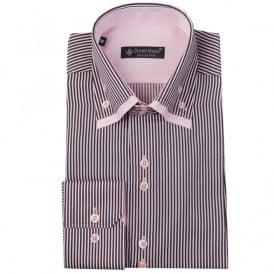 Daniel Rosso DR-480 ST Double Collar Striped Shirt in Pink