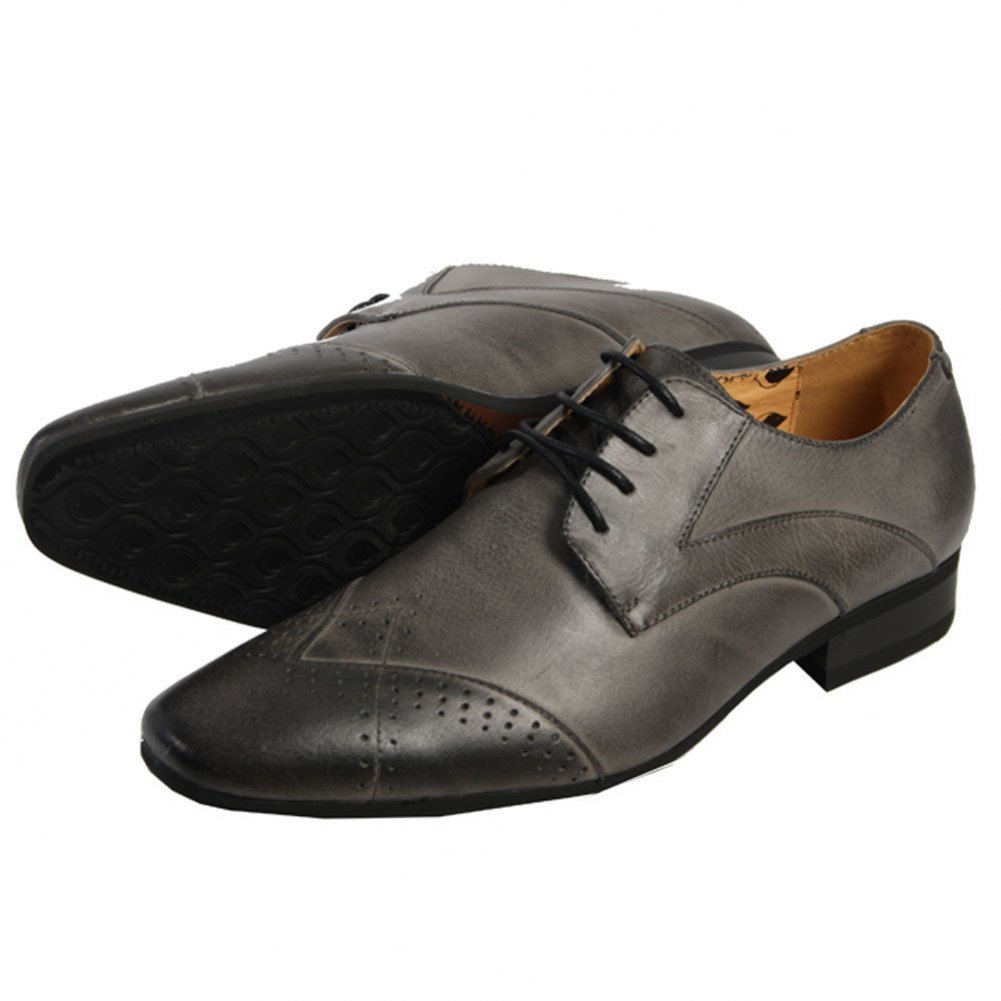 Mens Blue Brown Black Leather Lined Italian Design Pointed Smart Casual Shoes Laced