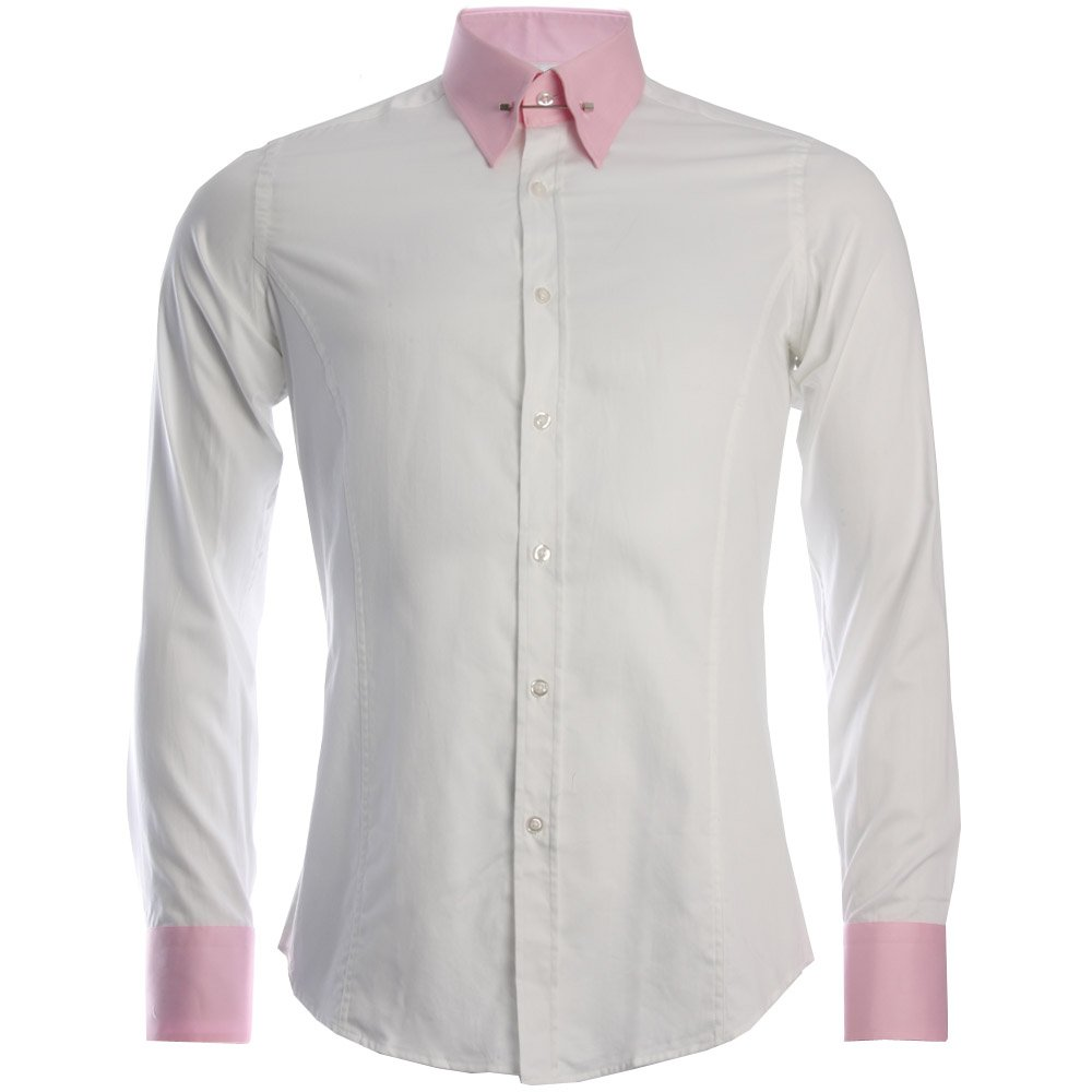 Daniel rosso dr 362p contrast pin collar shirt in white ebay for White shirt with collar pin