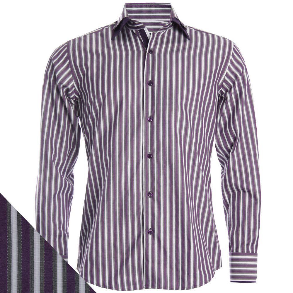 Dr402 004 purple double collar stripe shirt formal for Purple and black striped t shirt