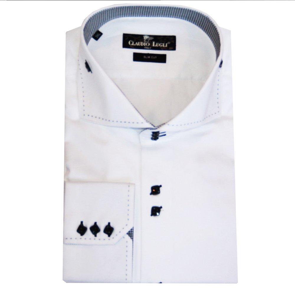 Claudio lugli cutaway collar shirt in white ebay for White cutaway collar shirt
