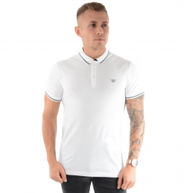 Armani Jeans | 3Y6F24 Tipped Polo T-Shirt - White