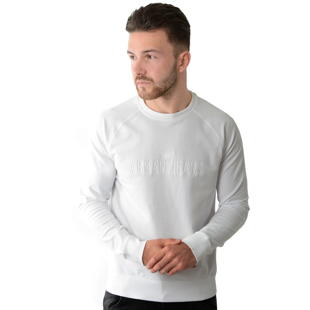 Buy Armani Jeans Top   CBMenswear   Armani Jeans White Sweat Top 1282de467606