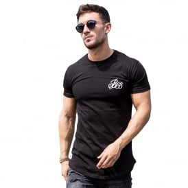Bee Inspired Signature Curve Hem Half Sleeve T-Shirt - Black