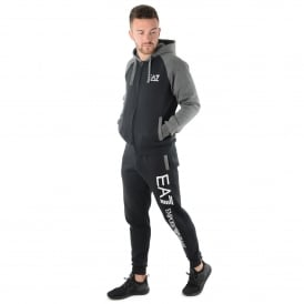 EA7 | Emporio Armani 6YPV62 Tri Tonal Full Zip Cotton Tracksuit Set - Black