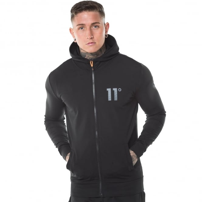 Eleven Degrees 11 Degrees 11D-1042 Poly Zipped Hood Top - Black