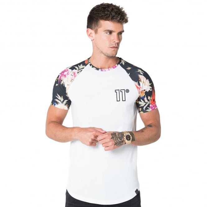 Eleven Degrees 11 Degrees 11D-935 Raglan Dripping Floral T-Shirt - White