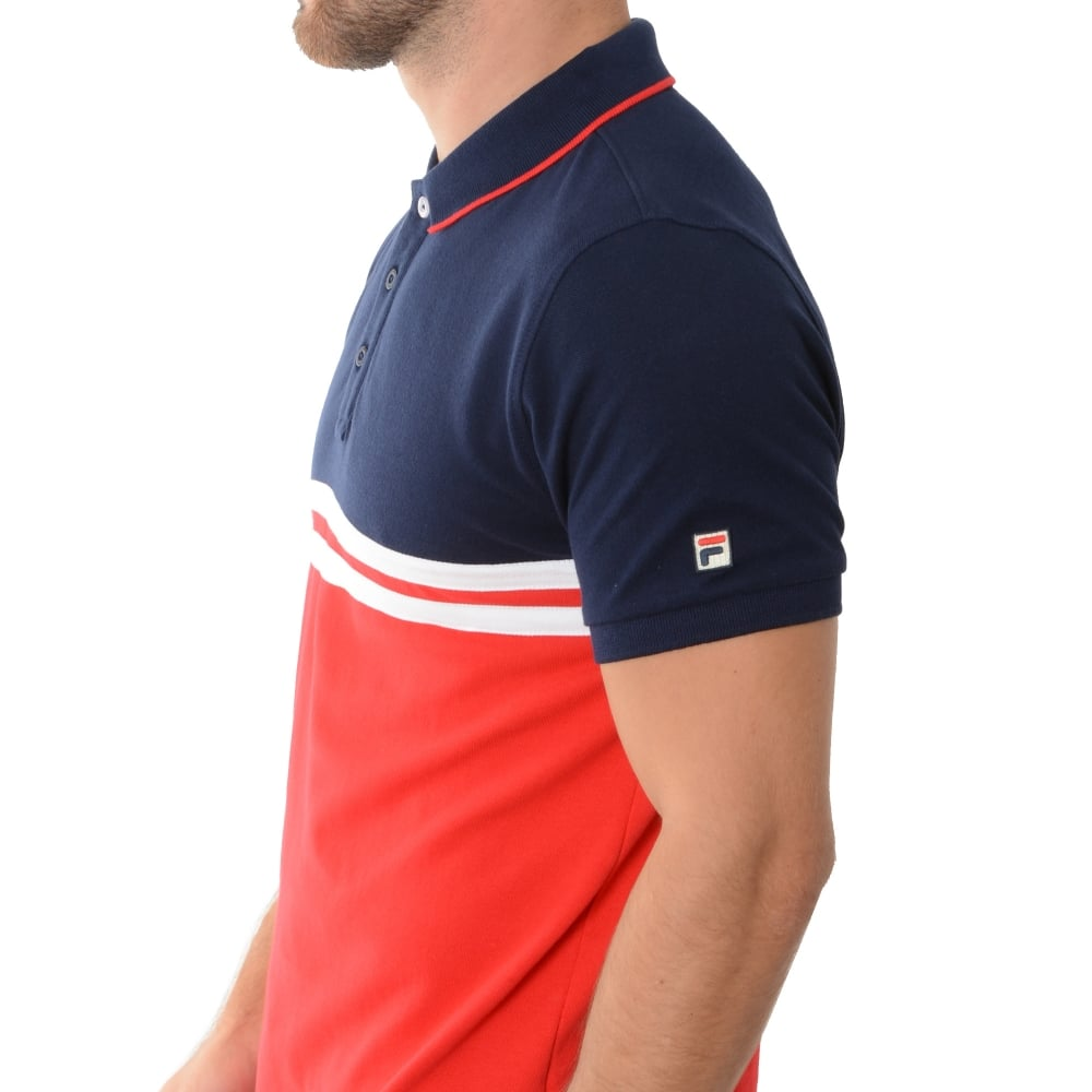 Domenico 048 Polo T-Shirt Top - Navy/Red