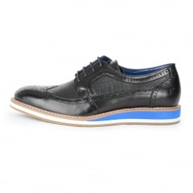 Front Berkeley Brogue Black Shoes