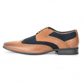 Front Turin Shoe Tan-Navy Leather & Suede Brouge Shoe