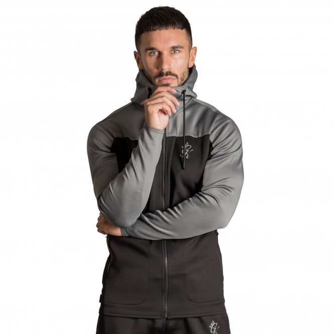 Gym King Capo Panel Poly Tracksuit Top - Black/Grey