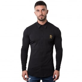 Gym King Jersey Long Sleeve Shirt - Black/Gold