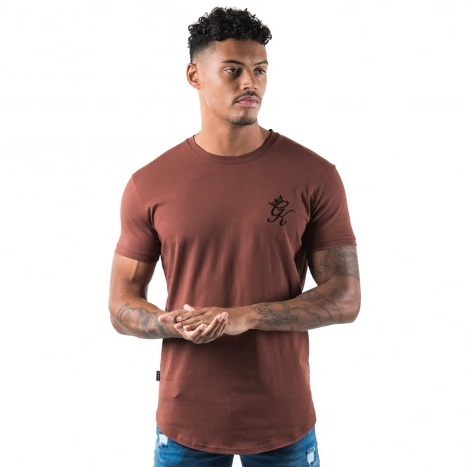 Gym King Long Fitted Line Half-Sleeve T-Shirt - Baked Rouge