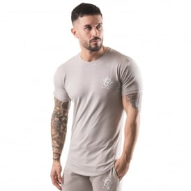 Gym King Long Fitted Line Half-Sleeve T-Shirt - Oatmeal