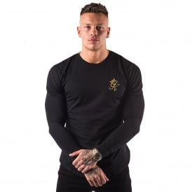 Gym King Long Sleeve Fitted Top - Black/Gold