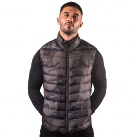 Gym King Puffa Gilet Sleeveless Bodywarmer - Camo