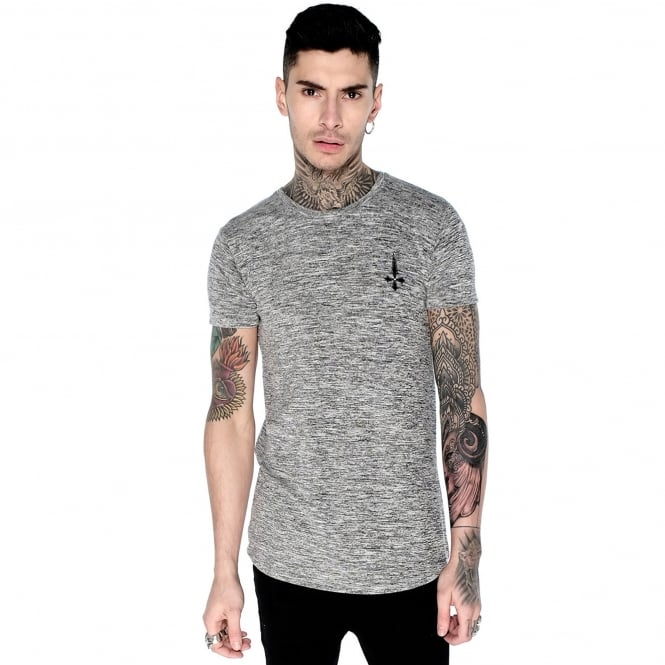 Judas Sinned M-301 Curve Hem Grey Marl Half-Sleeve T-Shirt