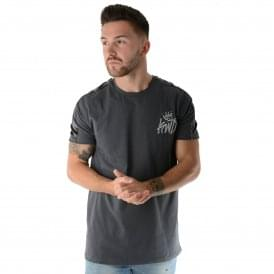 Kings Will Dream | KWD Stanford Velour VLR Panel T-Shirt - Charcoal