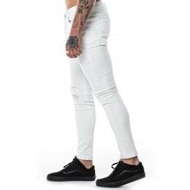 325907337c Level 1 | 264 Rip & Repair Skinny Jeans - White