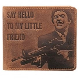 Mustard 'Say Hello To My Little Friend' Bifold & Coin Wallet - Brown
