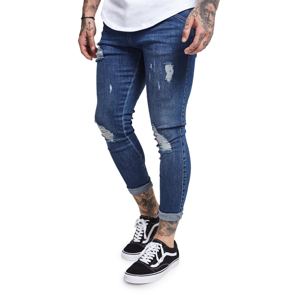 limited price recognized brands great fit Skinny Distressed Denim SS-12996 Jean - Blue