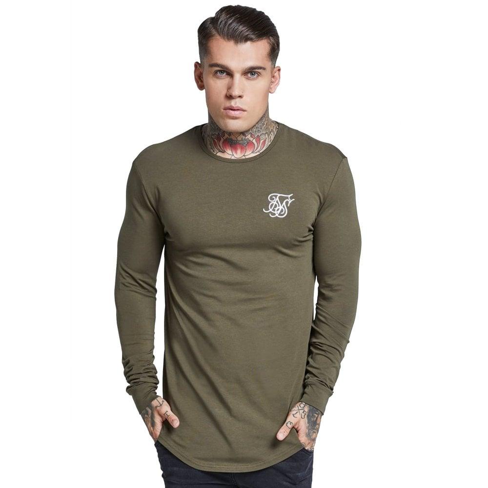 0dc1af9feb2038 Buy Sik Silk Tops   CBMenswear   Sik Silk Long Sleeve Gym Khaki Top