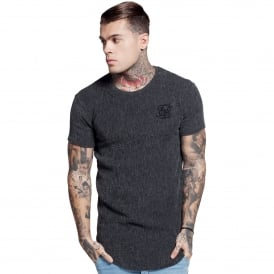 Sik Silk SS-11526 Ripple Curved Hem T-Shirt - Grey
