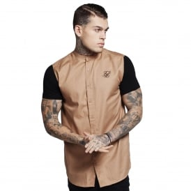 Sik Silk SS-11813 Jersey Short Sleeve Shirt - Beige/Black