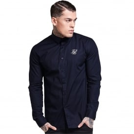 Sik Silk SS-11845 Long Sleeve Poly Stretch Shirt – Navy
