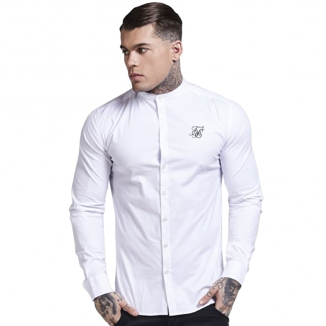 Sik Silk SS-11853 Long Sleeve Oxford Stretch Fit Shirt – Optic White