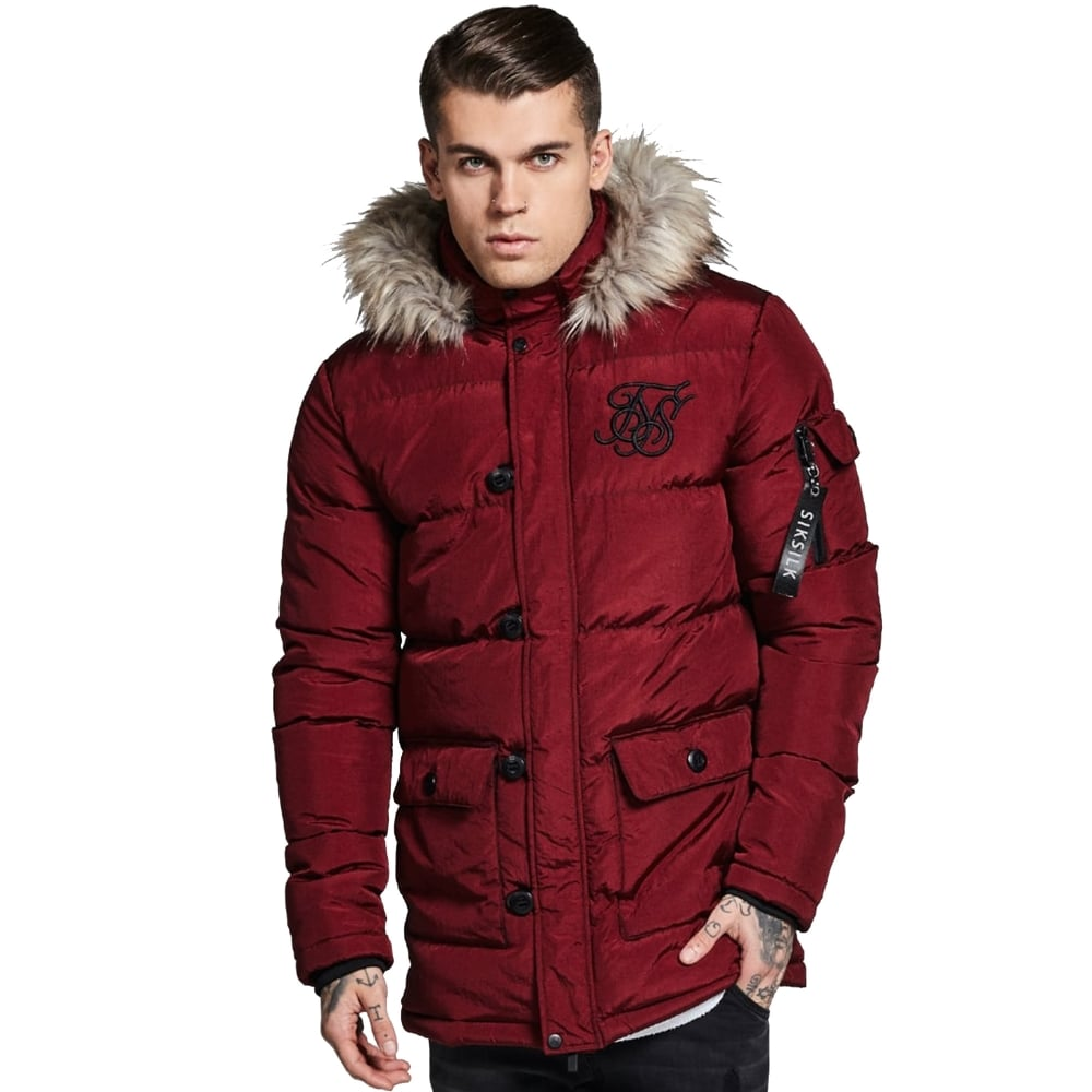 Sik Silk SS-12082 Puff Parka Jacket - Burgundy