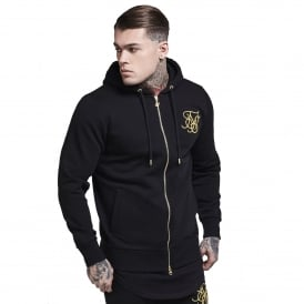 Sik Silk SS-12308 Zip Through Hoodie - Black & Gold