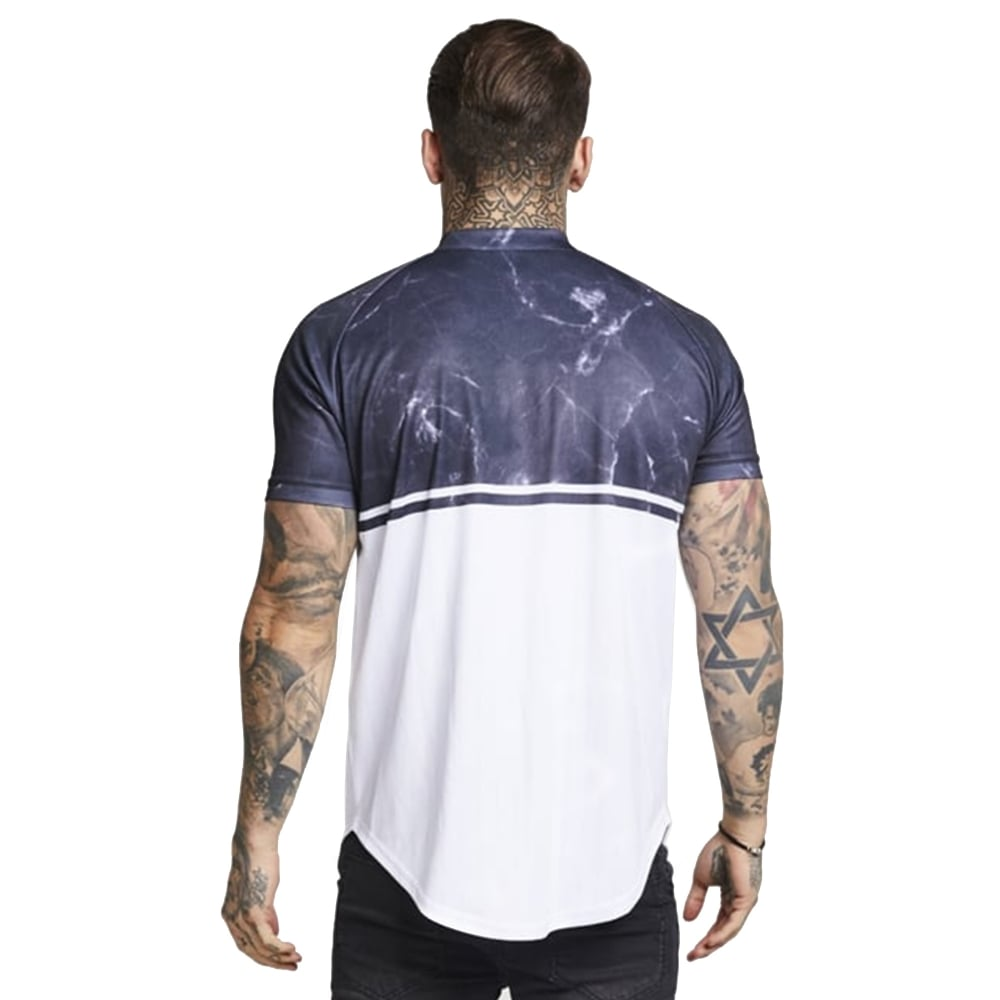 858d8f1e Buy Sik Silk T-Shirts | CBMenswear | Sik Silk Marble Baseball T-Shirt