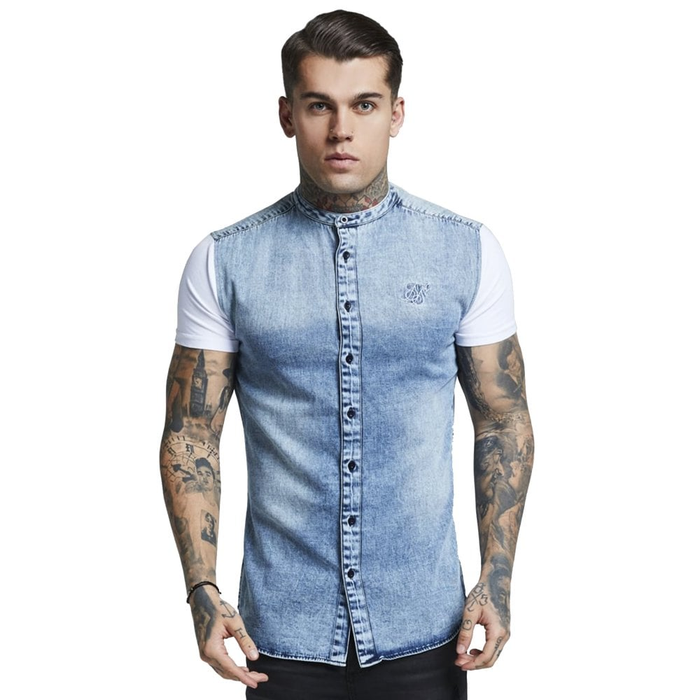 e693c098c9 SS-13295 Grandad Collar Washed Denim Shirt - Denim Blue & White
