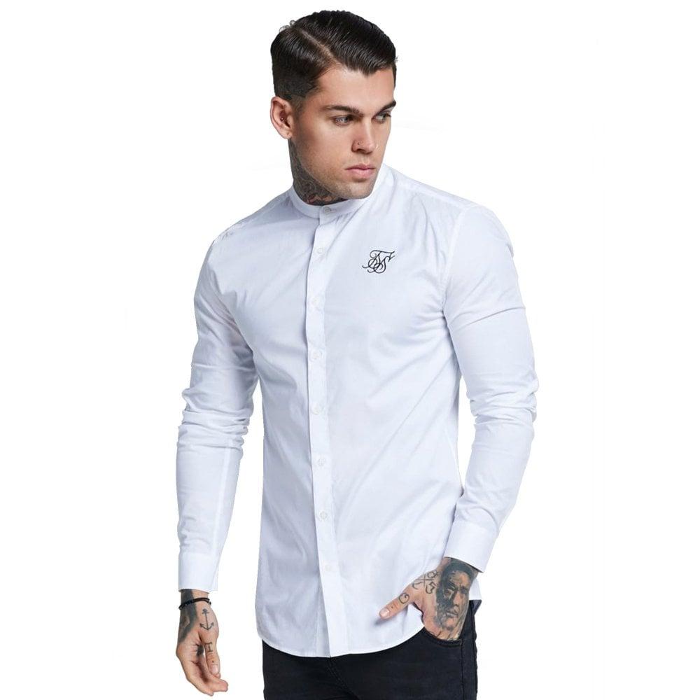 40906aa7566f6 Sik Silk SS-13565 Grandad Collar Oxford Long Sleeve Shirt - White Rose