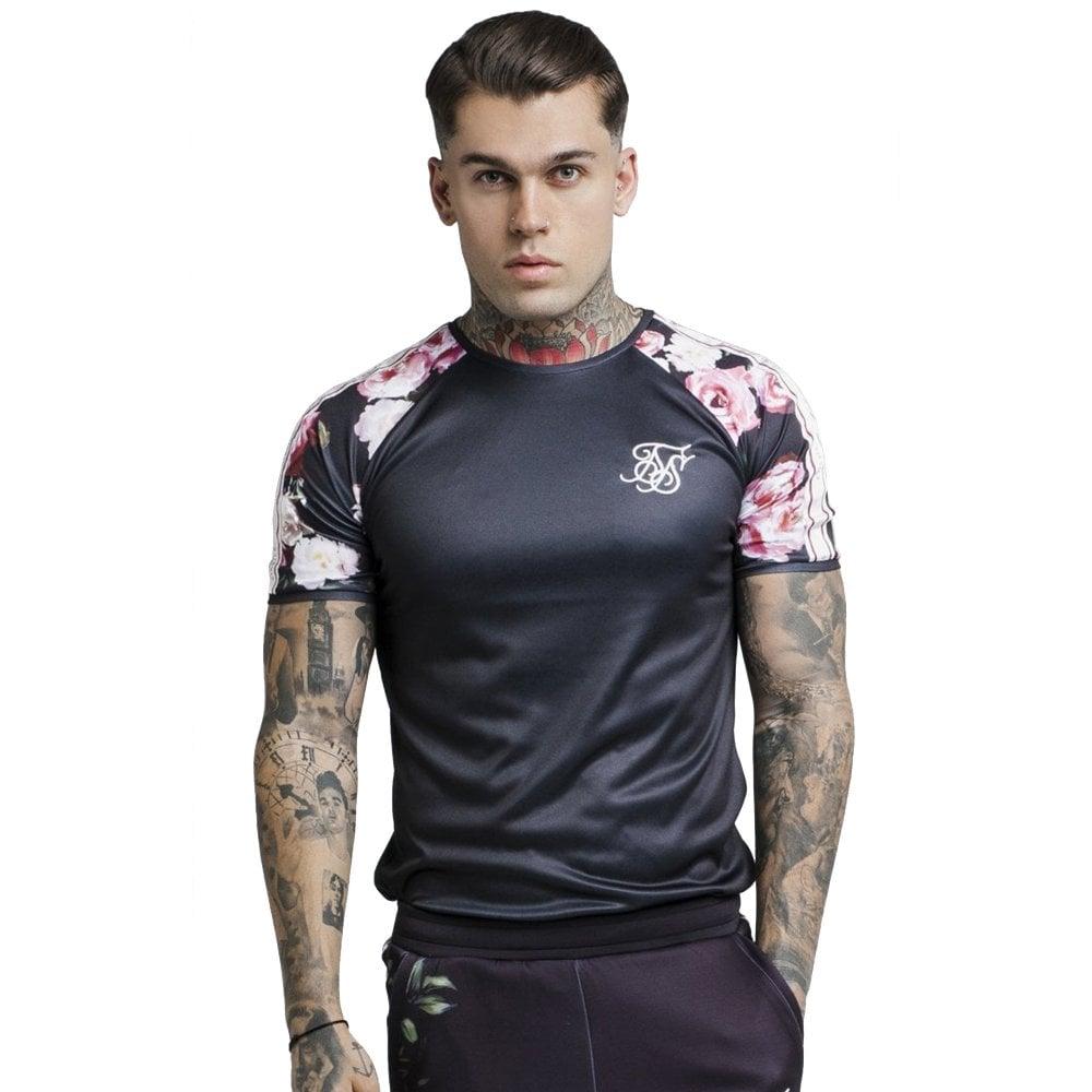 8f906df4145 Sik Silk SS-13745 Oil Paint Floral Raglan Tape T-Shirt - Black
