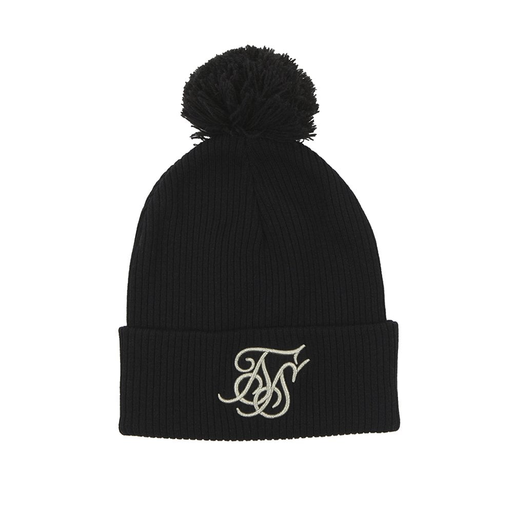 Sik Silk SS-14542 Tonal Bobble Beanie Hat - Black 1e832540270