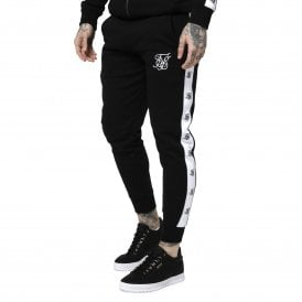 Sik Silk SS-14831 Tape Muscle Fit Jogger - Black & White