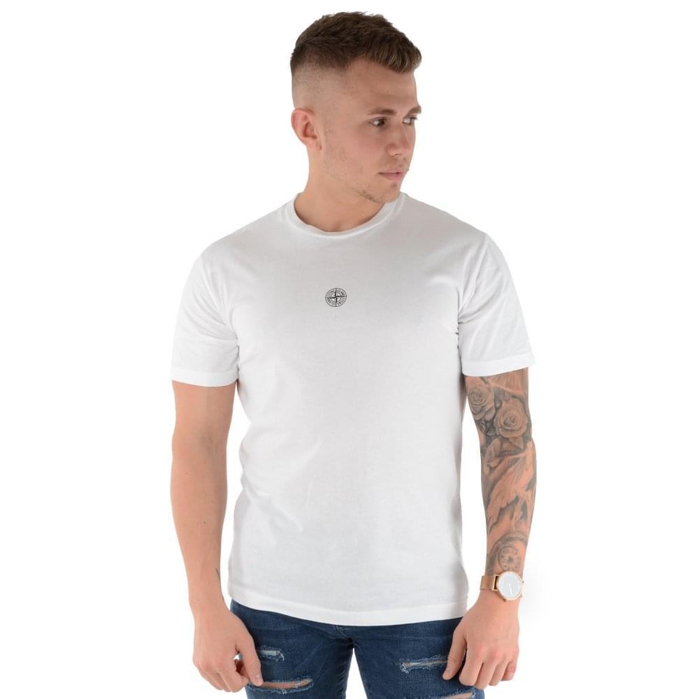 969871b7a Stone Island   2NS93 Small Logo Graphic Half Sleeve T-Shirt - White