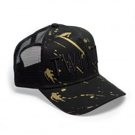 Twinzz TMT1048 3D Mesh Trucker Metallic Splatter Baseball Cap - Black/Gold